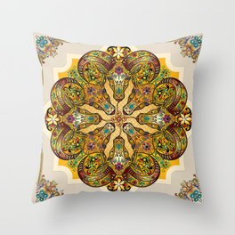 Mandala Sacred Rams - Bright Version Throw Pillow