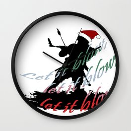 Let It Blow Christmas Holiday Kiteboarding Sport Wall Clock