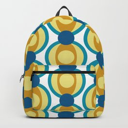 Retro Circle Pattern Mid Century Modern Turquoise Blue and Marigold Backpack