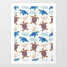 The Sea Turtle Pattern Art Print