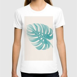 Monstera Tropical Deep Peacock Blue and Gardenia T-shirt