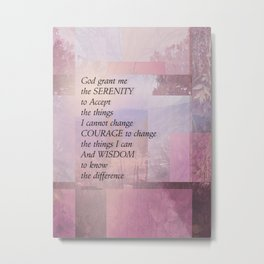 Serenity Prayer Abstract Landscape Pink Metal Print