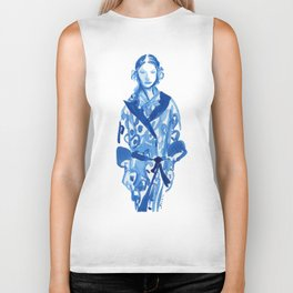 Samurai casual -blue ink woman fashion illustration Biker Tank