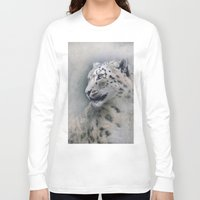 snow leopard Long Sleeve T-shirts featuring Snow Leopard profile by Pauline Fowler ( Polly470 )