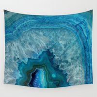 geode Wall Tapestries featuring Blue faux druse crystal quartz gem gemstone geode mineral stone science specimen photograph hipster  by iGalaxy