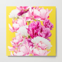 Beauties of nature - large pink flowers on a yellow background Metal Print