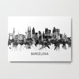 Barcelona Spain Skyline BW Metal Print