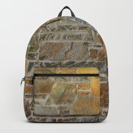 Avondale Brown Stone Wall and Mortar Texture Photograph Backpack