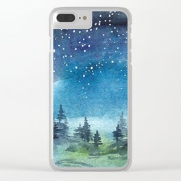 Starry Night over Forest Clear iPhone Case