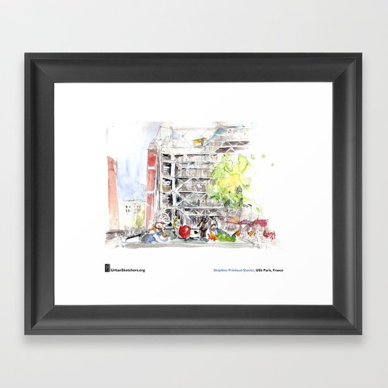 """Delphine_Priollaud-Stoclet, """"Beaubourg Fontaine"""" Framed Art Print"""