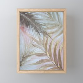 pastel palm leaves tropical print Framed Mini Art Print