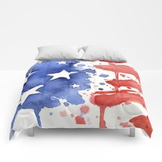 American Flag Watercolor Abstract Stars and Stripes Comforters