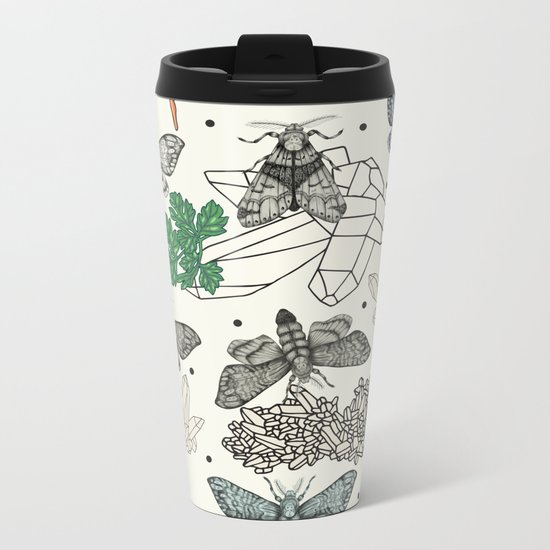 Moths and rocks. Metal Travel Mug