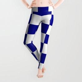 Checkered - White and Dark Blue Leggings