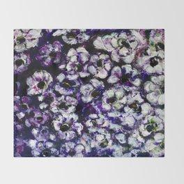 White Flowers on Purple Background Throw Blanket