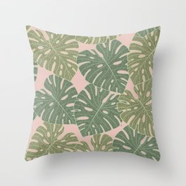 Monstera leaves Throw Pillow