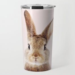 Baby Rabbit, Brown Bunny With Pink Background, Baby Animals Art Print By Synplus Travel Mug