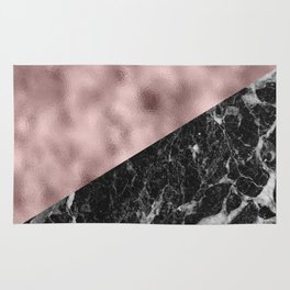 Black campari marble with lilac rosy gold Rug