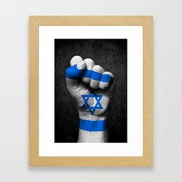 Israeli Flag on a Raised Clenched Fist Framed Art Print