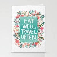 eat Stationery Cards featuring Eat Well, Travel Often Bouquet  by Cat Coquillette