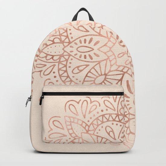 Mandala Rose Gold Pink Shimmer on Light Cream Backpack