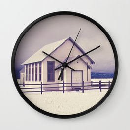 Old Rural Schoolhouse in Winter Wall Clock