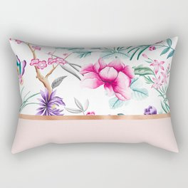 Chinoiserie pearl white floral & rose gold Rectangular Pillow