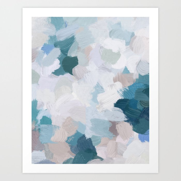 Blue and White Abstract Painting Pink