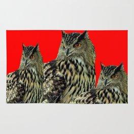 FAMILY OF OWLS IN TREE RED ART DESIGN ART Rug