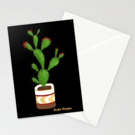 Flowering Cactus on Black Background Stationery Cards