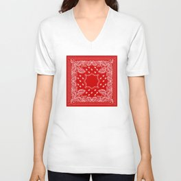 Bandana in Red & White Unisex V-Neck