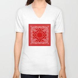 Bandana in Red & White Unisex V-Neck