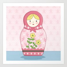 Matryoshka Doll (pink) Art Print
