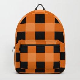 Orange and Black Buffalo Check Backpack