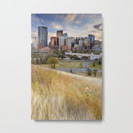 Skyline of Calgary, Alberta, Canada at sunset Metal Print
