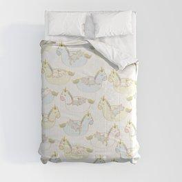 Sleepy lazy cats in unicorn floaties Comforters
