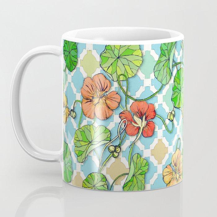 Climbing Nasturtiums on Blue and White Coffee Mug