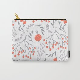 Red Berry Floral Carry-All Pouch