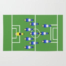 Football Soccer sports team in blue Rug
