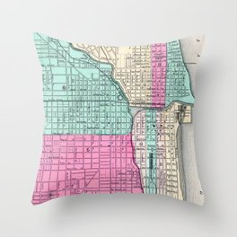 Vintage Map of Chicago IL (1855) Throw Pillow