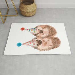 Twins Hedgehog with Party Hat Rug