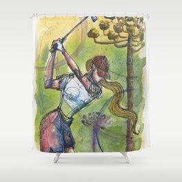 wonder shot golfer gof Shower Curtain