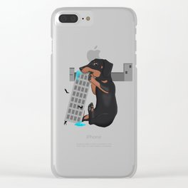 Attack of the Enormous Dachshund!!! Clear iPhone Case