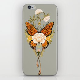 Butterfly Peonies Tattoo iPhone Skin