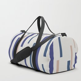 Interrupted Lines Mid-Century Modern Minimalist Pattern in Blue, Purple, and Taupe Duffle Bag