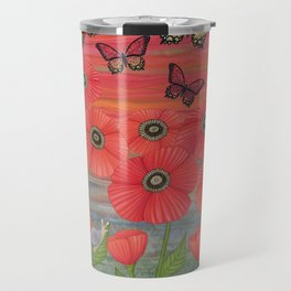 red sky, butterflies, poppies, & snails Travel Mug