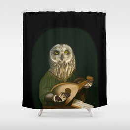 Renaissance Owl Playing His Lute Shower Curtain
