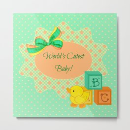 Peach, Green & Yellow Baby Blocks & Rubber Duck Metal Print