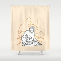platypus Shower Curtains featuring [ Supernatural ] Castiel Gabriel Trickster Platypus by Vyles