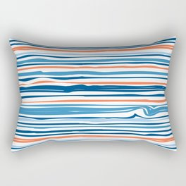 Modern Abstract Ocean Wave Stripes in Classic Blues and Orange Rectangular Pillow